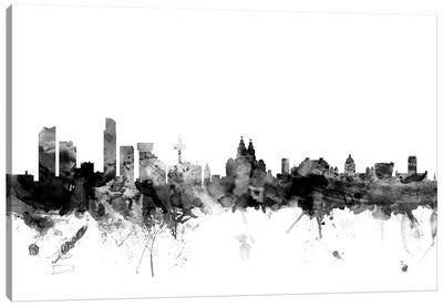 Liverpool, England In Black & White Canvas Art Print