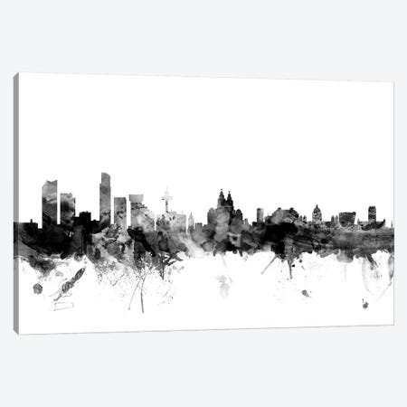 Liverpool, England In Black & White 3-Piece Canvas #MTO840} by Michael Tompsett Canvas Print