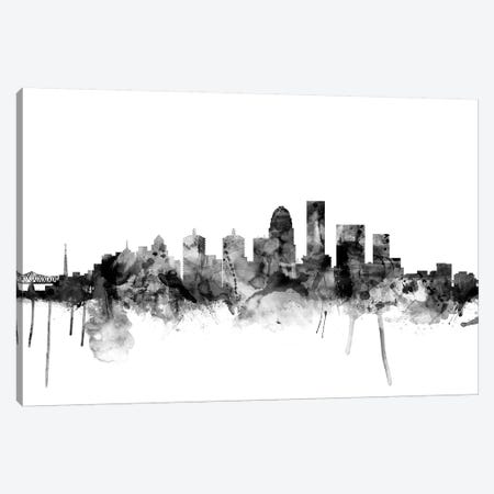 Louisville, Kentucky In Black & White 3-Piece Canvas #MTO845} by Michael Tompsett Canvas Art
