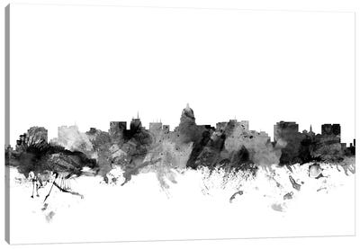 Madison, Wisconsin In Black & White Canvas Art Print