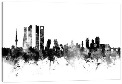 Madrid, Spain In Black & White Canvas Art Print