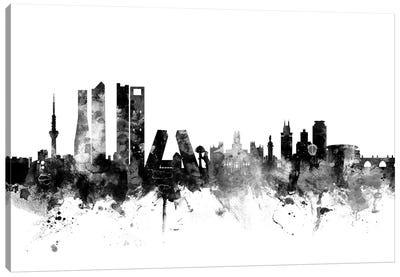 Madrid, Spain In Black & White Canvas Art Print