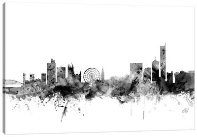 Manchester, England In Black & White Canvas Art Print