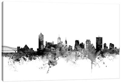 Memphis, Tennessee In Black & White Canvas Art Print