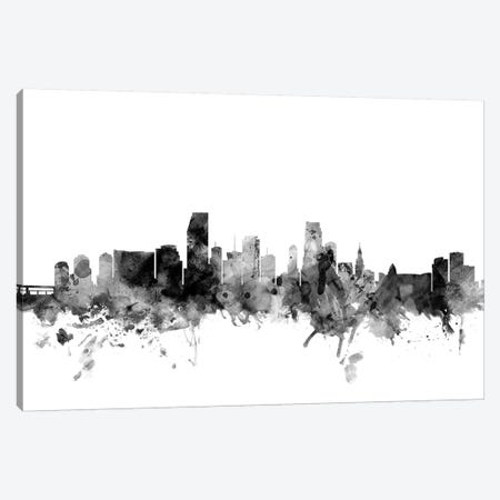 Miami, Florida In Black & White 3-Piece Canvas #MTO855} by Michael Tompsett Canvas Print