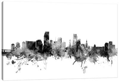 Miami, Florida In Black & White Canvas Art Print