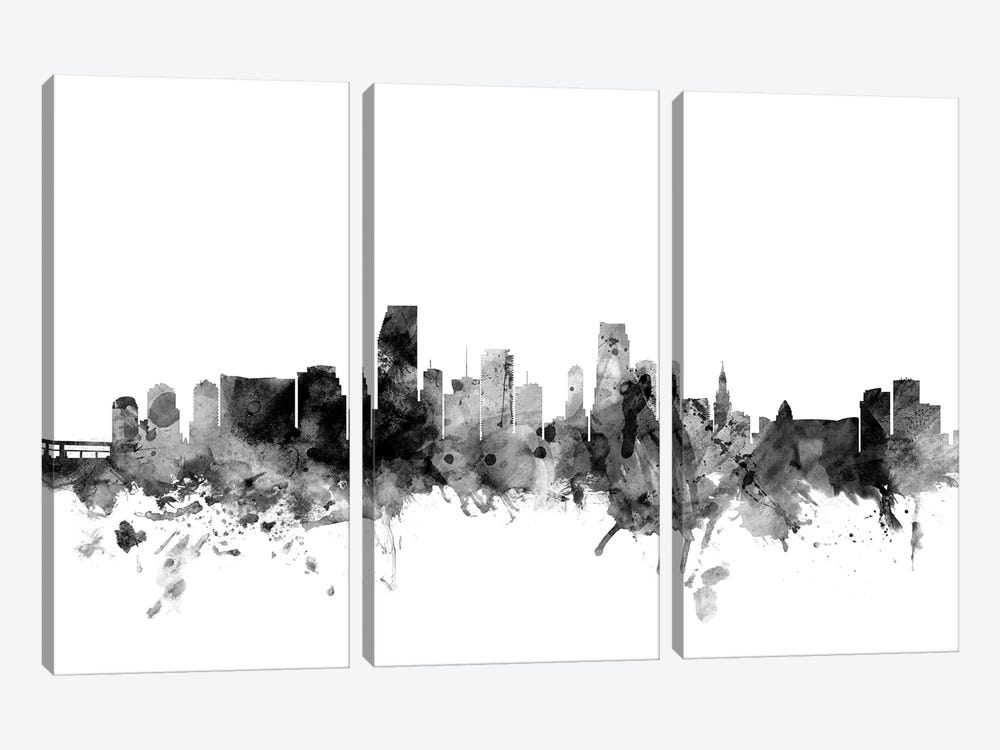 Miami, Florida In Black & White by Michael Tompsett 3-piece Canvas Wall Art