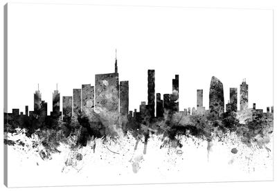 Milan, Italy In Black & White Canvas Art Print