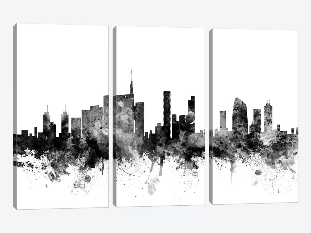 Milan, Italy In Black & White by Michael Tompsett 3-piece Canvas Art