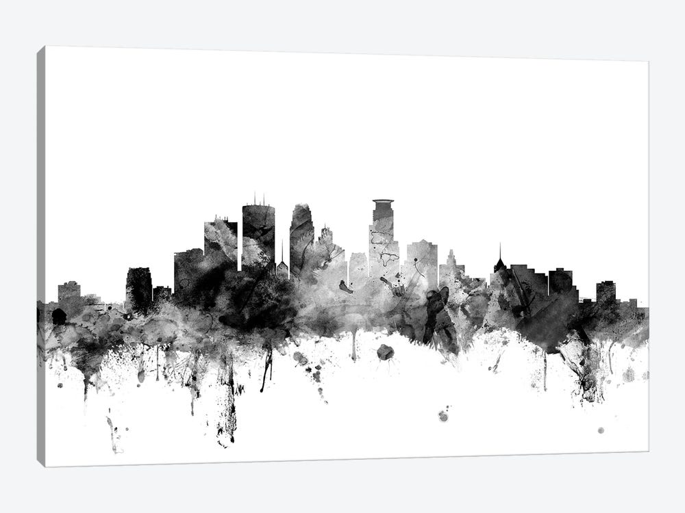 Minneapolis, Minnesota In Black & White by Michael Tompsett 1-piece Canvas Wall Art