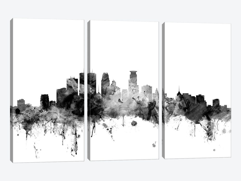 Minneapolis, Minnesota In Black & White by Michael Tompsett 3-piece Canvas Artwork