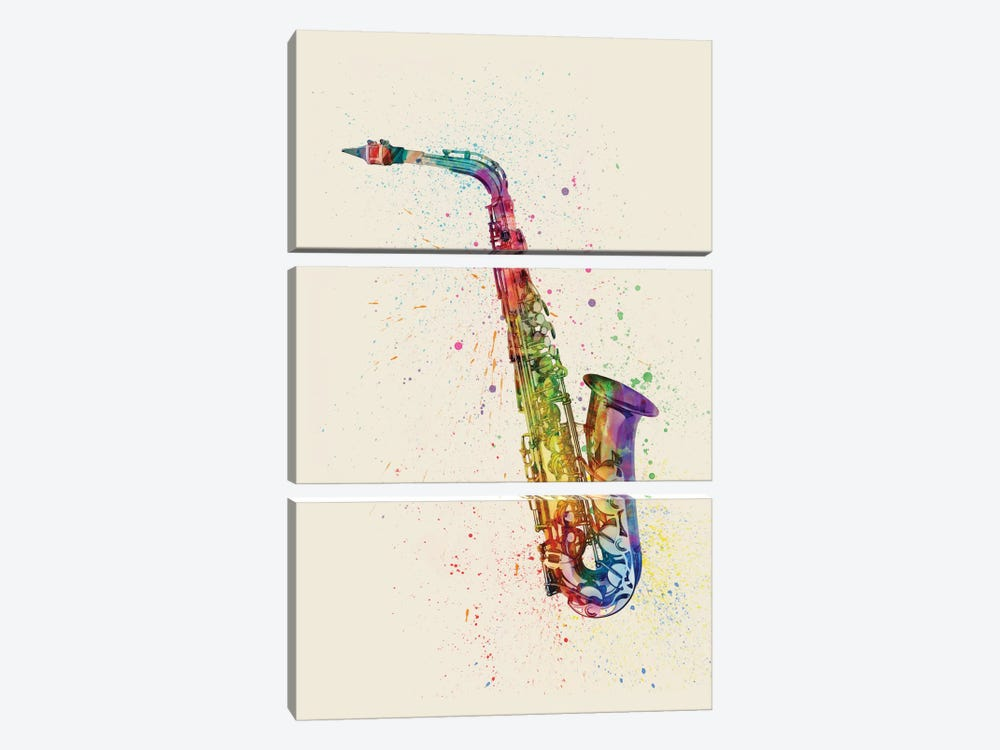 Saxophone by Michael Tompsett 3-piece Canvas Artwork