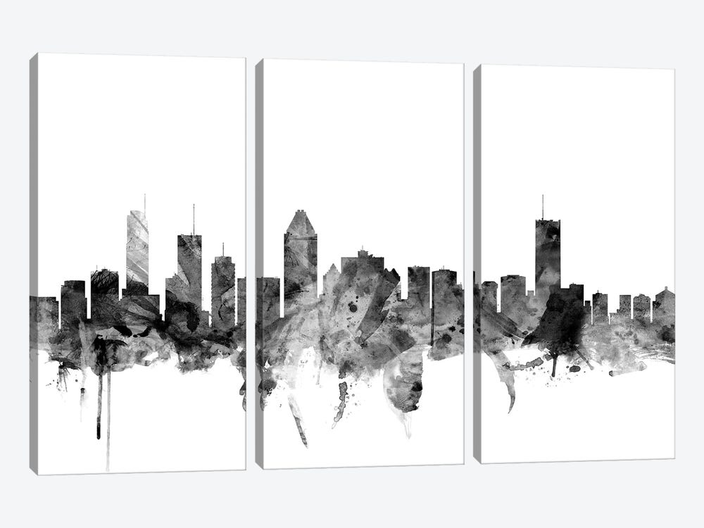 Montreal, Canada In Black & White by Michael Tompsett 3-piece Canvas Artwork