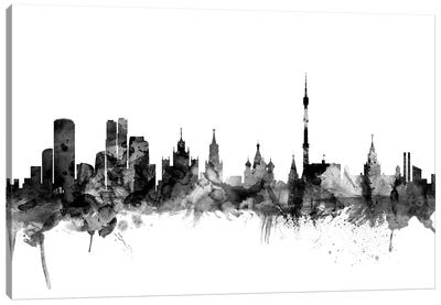 Moscow, Russia In Black & White Canvas Art Print