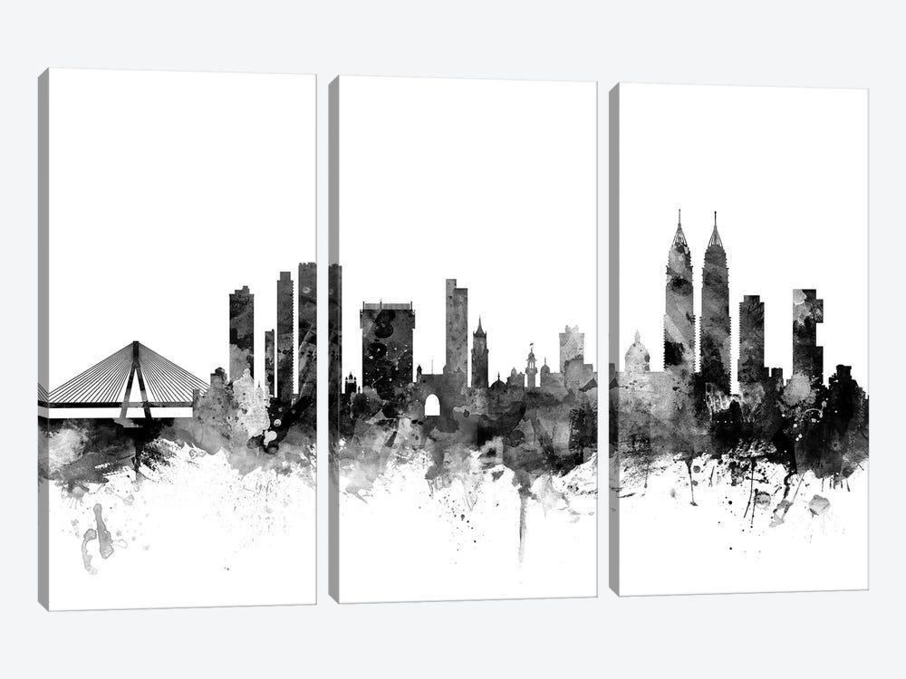 Mumbai (Bombay),  India In Black & White by Michael Tompsett 3-piece Canvas Artwork