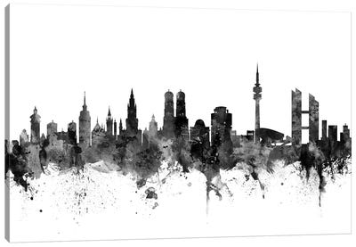 Munich, Germany In Black & White Canvas Art Print