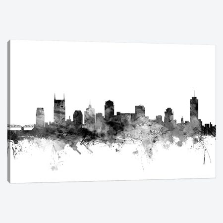 Nashville, Tennessee In Black & White 3-Piece Canvas #MTO864} by Michael Tompsett Canvas Artwork