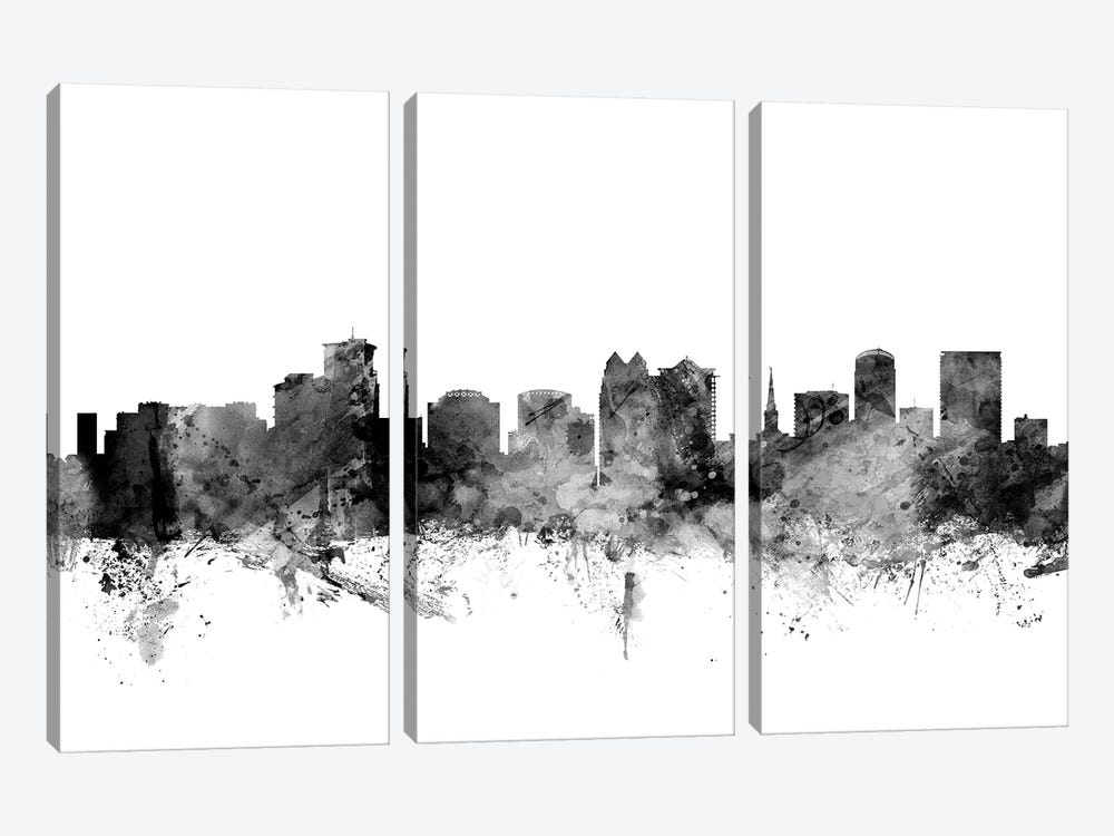 Orlando, Florida In Black & White by Michael Tompsett 3-piece Canvas Art