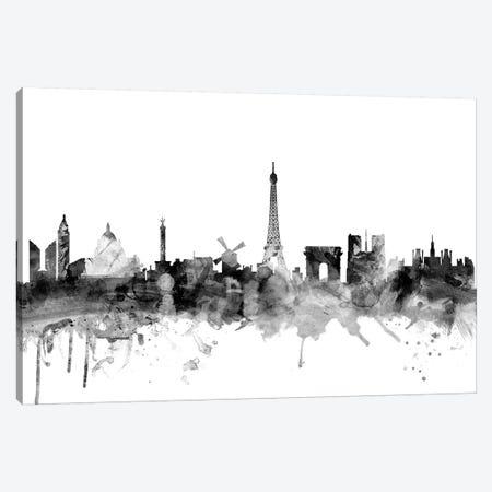 Paris, France In Black & White 3-Piece Canvas #MTO877} by Michael Tompsett Canvas Print