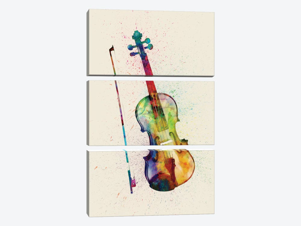 Musical Instrument Series: Violin by Michael Tompsett 3-piece Canvas Wall Art