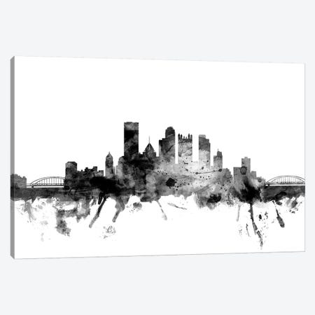 Pittsburgh, Pennsylvania In Black & White Canvas Print #MTO881} by Michael Tompsett Art Print