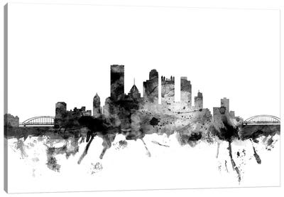 Pittsburgh, Pennsylvania In Black & White Canvas Art Print