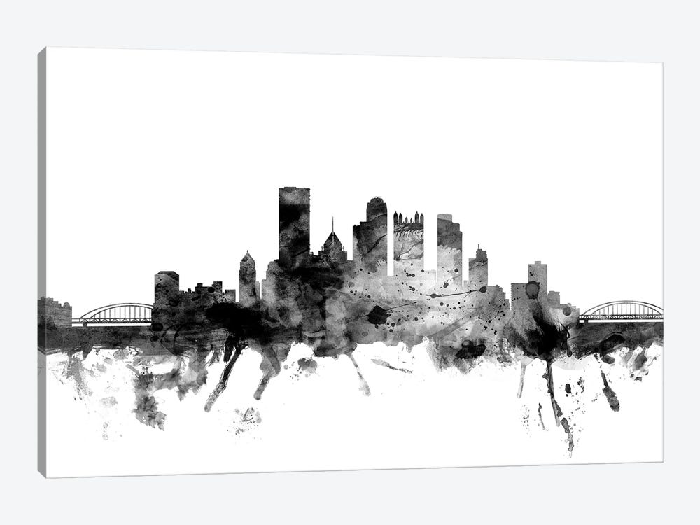 Pittsburgh, Pennsylvania In Black & White by Michael Tompsett 1-piece Canvas Print