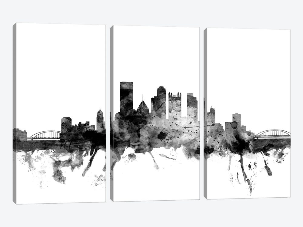 Pittsburgh, Pennsylvania In Black & White by Michael Tompsett 3-piece Canvas Art Print