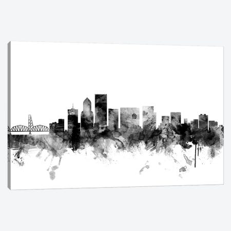 Portland, Oregon In Black & White Canvas Print #MTO882} by Michael Tompsett Canvas Art Print
