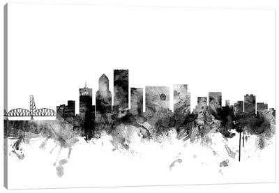 Portland, Oregon In Black & White Canvas Art Print