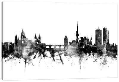 Prague, Czech Republic In Black & White Canvas Art Print