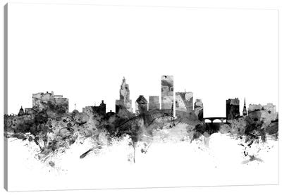 Providence, Rhode Island In Black & White Canvas Art Print