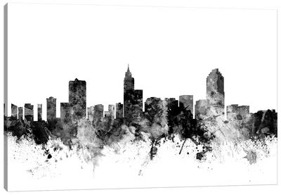 Raleigh, North Carolina In Black & White Canvas Art Print
