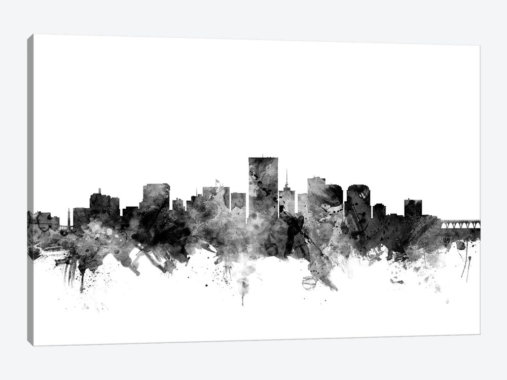 Richmond, Virginia In Black & White 1-piece Art Print