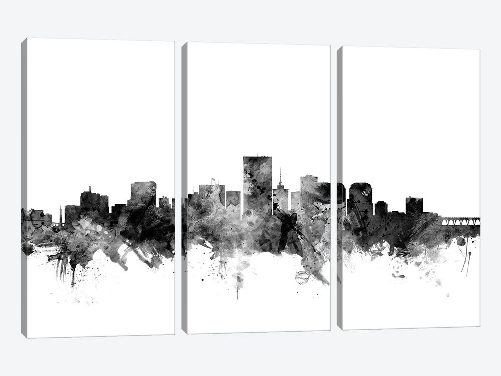 Richmond, Virginia In Black & White 3-piece Canvas Art Print