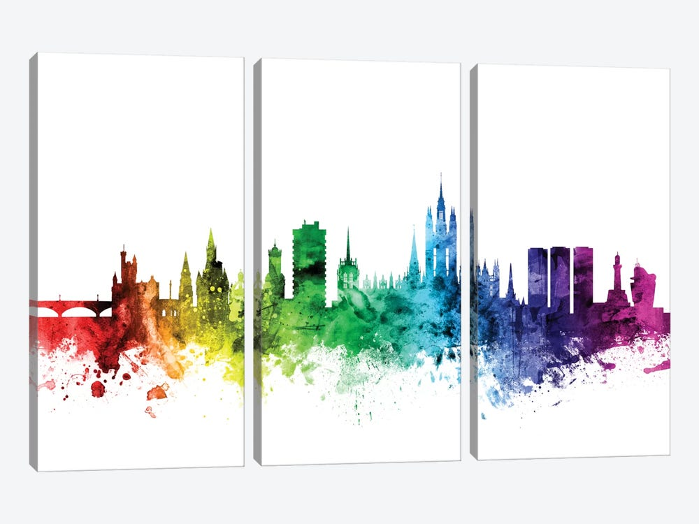 Rainbow Skyline Series: Aberdeen, Scotland, United Kingdom by Michael Tompsett 3-piece Canvas Print