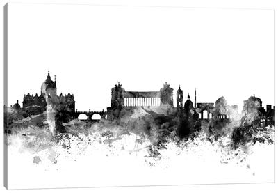 Rome, Italy In Black & White Canvas Art Print