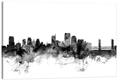 Sacramento, California In Black & White Canvas Art Print
