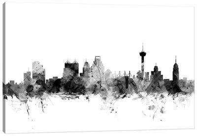 San Antonio, Texas In Black & White Canvas Art Print