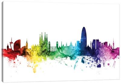 Rainbow Skyline Series: Barcelona, Spain Canvas Print #MTO89