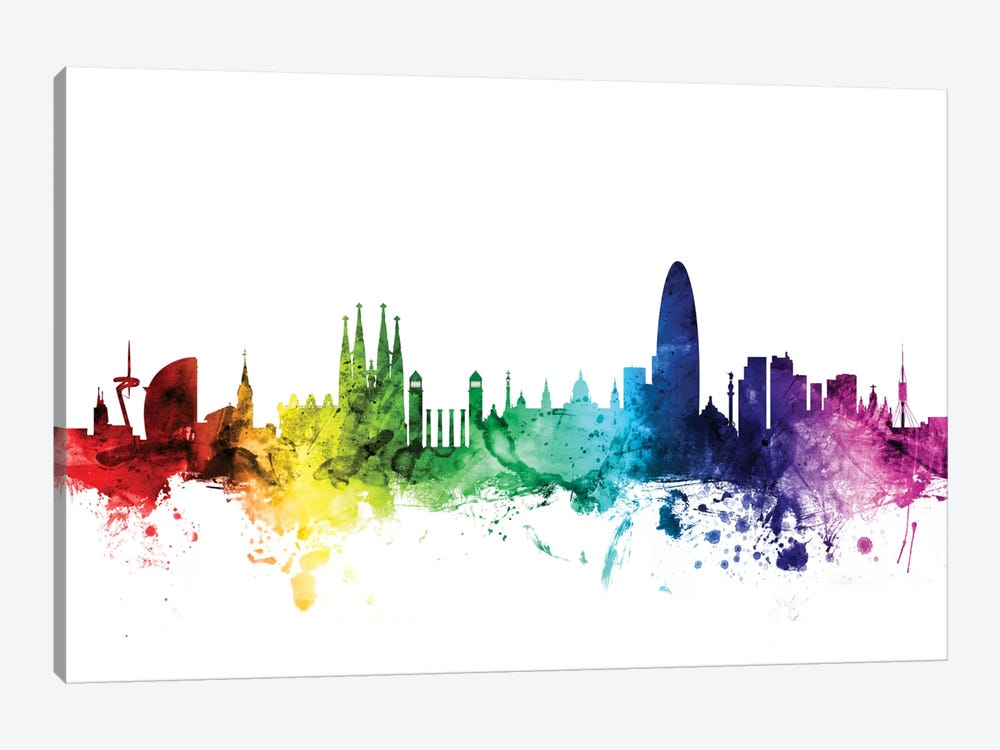 Rainbow Skyline Series: Barcelona, Spain by Michael Tompsett 1-piece Canvas Art