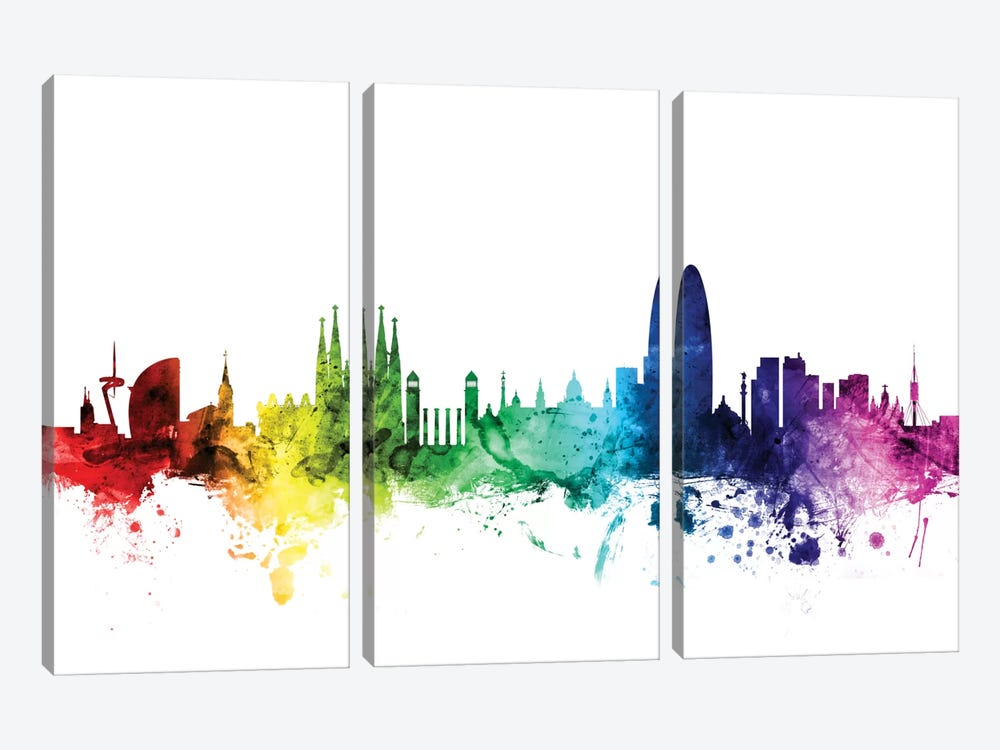 Rainbow Skyline Series: Barcelona, Spain by Michael Tompsett 3-piece Canvas Artwork