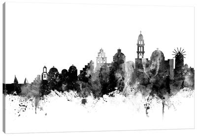 Santorini, In Black & White Canvas Art Print