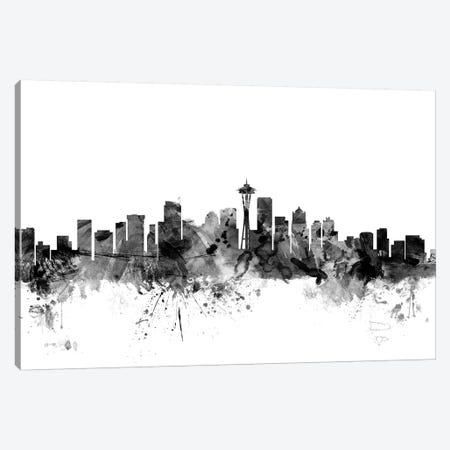 Seattle, Washington In Black & White Canvas Print #MTO903} by Michael Tompsett Canvas Artwork