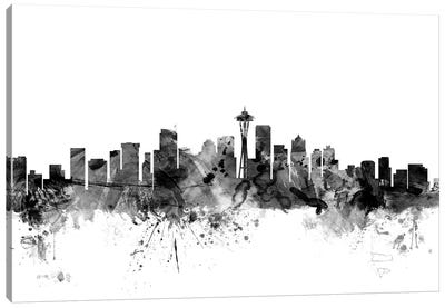 Seattle, Washington In Black & White Canvas Art Print