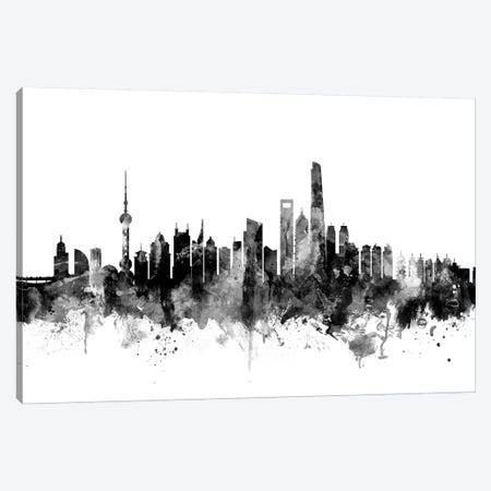 Shanghai, China In Black & White Canvas Print #MTO905} by Michael Tompsett Canvas Print