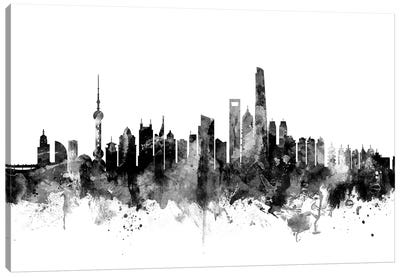Shanghai, China In Black & White Canvas Art Print