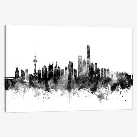 Shanghai, China In Black & White Canvas Print #MTO905} by Michael Tompsett Canvas Print