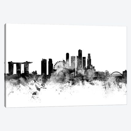 Singapore In Black & White Canvas Print #MTO908} by Michael Tompsett Canvas Artwork