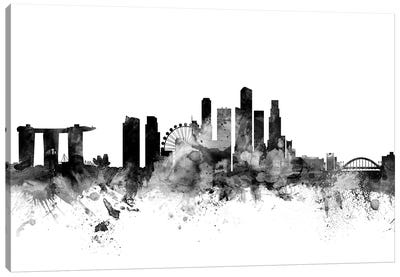 Singapore In Black & White Canvas Art Print